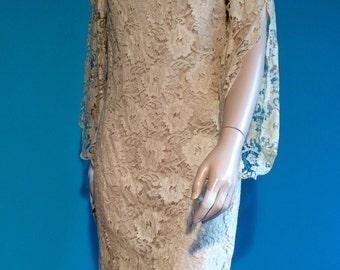 Vintage 60s Split BELL Sleeve BOHO LACE Dress S M
