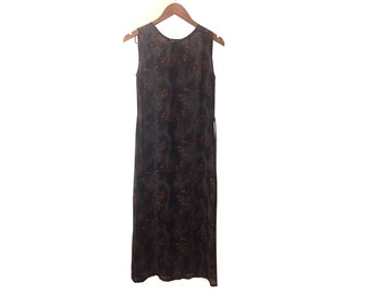 90s Grunge Black Floral Sheer Maxi Dress by Calypso size Small
