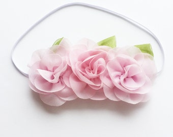 Chiffon Flower Headband - Baby Pink - Baby Headband - Baby Shower gift - Infant Headband - Flower Crown- Baby Flower Headband - Flower Child