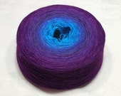 Gradient fine lace weight cashmere silk yarn - Titania 1400 - 104g - Bright blue to purple
