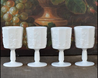 Vintage Milk Glass Wine Glasses / Westmoreland Paneled Grape / Vintage Milk Glass Barware