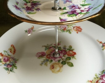 Dessert Stand three tier vintage plates for parties showers displays -sale price this week