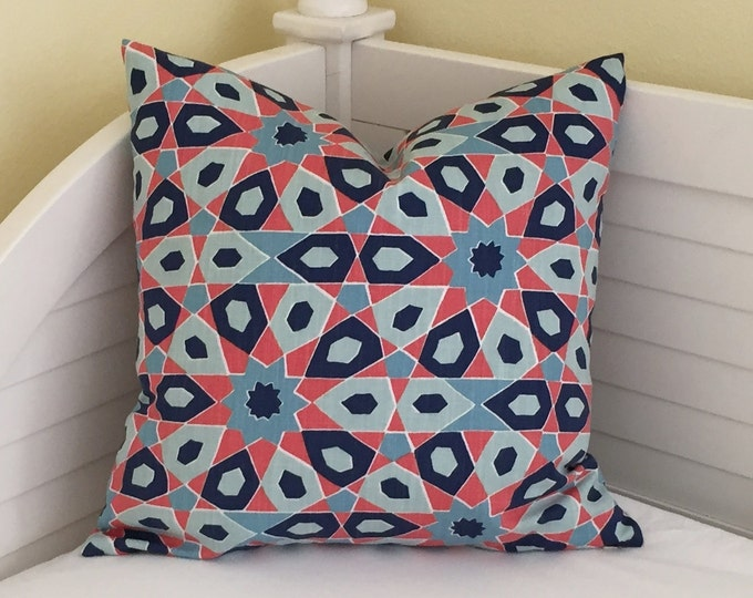 Duralee Starscope in Caribbean (Navy, Blues and Orange)  Designer Pillow Cover - Square, Lumbar, Euro Sizes and Body Pillow Cover