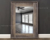 Wood Mirror Bathroom Cool Brown Gray Whitewash 32 x 24 Powder Room Mirror Farmhouse Mirror Reclaimed Wood Barnwood