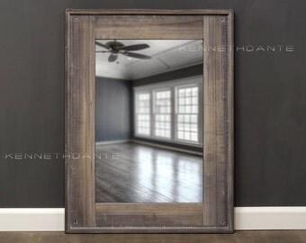 Wood Mirror Bathroom Cool Brown Gray Whitewash 32 x 24 Powder Room Mirror Farmhouse Mirror Reclaimed Wood Barnwood