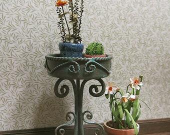 Copper patina garden plant stand - dollhouse miniature
