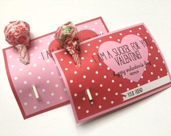 Kids Valentine, Valentine's Day Card, School Valentine, Class Valentine, Valentine Favors, Lollipop Valentine, Candy Valentine
