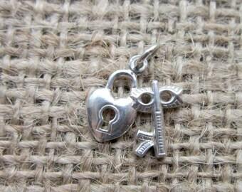 Vintage Sterling Silver Padlock & Key Pendant - Key To My Heart Charm