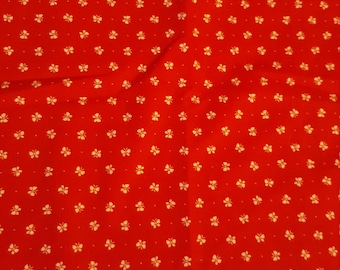 Butterfly fabric red and white