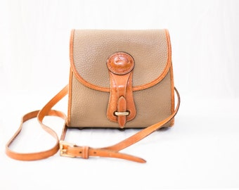 taupe tan and brown dooney and bourke leather satchel vintage bag
