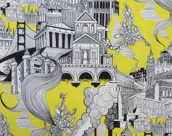 REMNANT--Black White and Yellow Smokestack City Pure Cotton Fabric--1/2 Yard