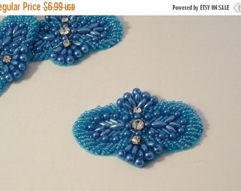 ON SALE Petite Turquoise Beaded Applique with Stones-One Piece