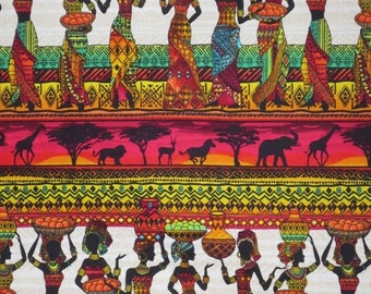 ON SALE Colorful African Ladies Kenta Border Print Pure Cotton Fabric--One Yard