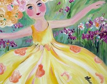 Original Painting Little Buttercup Dancer 16 x 20 Art by Elaine Cory
