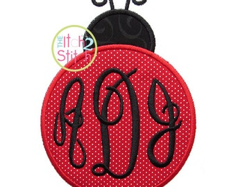 """Ladybug 4 Applique Design  Hoop Size(s)  4x4, 5x7 & 6x10 Shown with our """"Fancy Circle"""" Font NOT IncludedINSTANT DOWNLOAD now available"""
