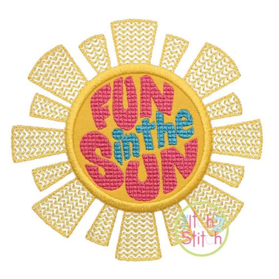 Fun in the sun applique design for machine embroidery words