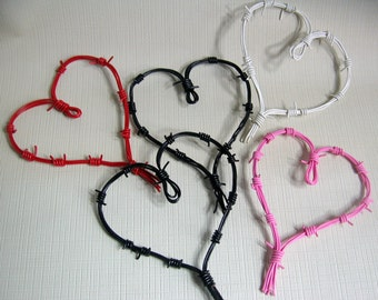 Handmade anti Valentine Love and Hate Mini Wire Sculpts Recycled, Upcycled, Repurposed Faux Barbed Telephone Wire Hearts Handmade love