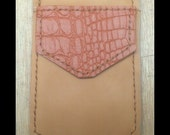 khaki Brown  Leather Pocket Protector  embossed