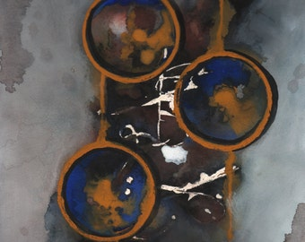 Giclee print of original Abstract watercolor painting 9x12 circle water drip urban