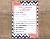 Who Knows The Bride Best Printable Game, Navy & Coral Mums Bridal Shower Activity, Wedding Shower Quiz, INSTANT DOWNLOAD