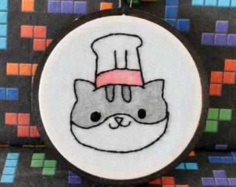 "Guy Furry Neko Atsume Inspired - Mini 3"" Hand Embroidery"