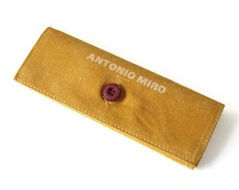 eyeglass case - yellow vintage glasses pouch - soft fabric sunglasses case faux leather - eyewear case - antonio miro
