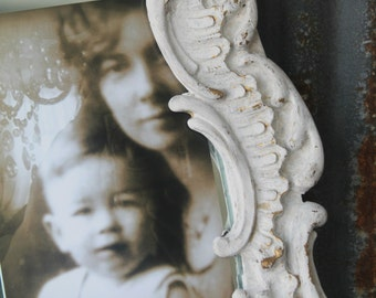 O V A L, Scalloped Ornate Chippy White Mirror Shabby Chic French Cottage Design