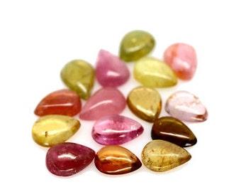 TOURMALINE (32199)  - PARCEL ( 15 gems) Mixed 5 x 6.5mm Pear-Cut - Tourmaline - Faceted