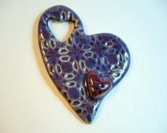 The Unusual - Blue Raspberry Heart 3D Pottery Pendant