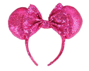 Pink Full Sequin Mickey Mouse Ears Minnie Mouse Ears Glitter Mickey Ears Sequin Mickey Ears