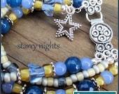 Blue and Yellow Multi Strand Gemstone Bracelet with Silver Star Charm, Stretch Bracelet, Her Blue Bracelet, Unique Statement Bracelet