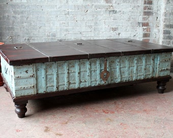 Coffee Table Reclaimed Pitara Trunk Table Salvaged Blue Antique Indian Wedding Chest Moroccan Decor