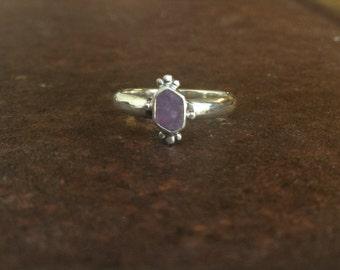 Raw Crystal Ring - Purple Sapphire Ring