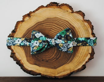 Green & Gold Floral Bow Tie | Self Tie or Pre Tied | Mens Bow Tie | Kids Bow Tie | Freestyle Bow Tie | Wedding Bow Tie | Groomsmen Bow Tie