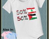 50 Lebanon 50 Jordan nationality bodysuit baby infant country flag proud to be nationality family heritage long and short sleeve
