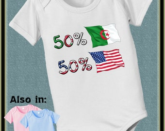 short sleeve and long sleeve 50 American 50 Algeria baby infant  Bodysuit baby bodysuit, baby shower gift