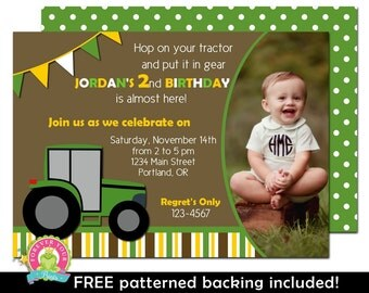 Tractor Birthday Invitation - Boys Birthday Invitation - Tractor Party Invite - Tractor Invitation - Tractor Invite - Tractor Party
