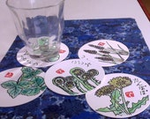 Made to Order Hand-Painted Etegami Drink Coasters (set of 5) Your Choice of Theme Custom Order Only