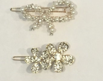 Bow and Flower Clip Set