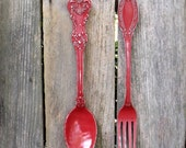 SUMMER SALE Ex large Fork and Spoon Wall Decor / Shabby Chic / Rustic / Kitchen Wall Decor /Red