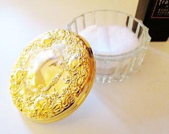 Vintage Gilded Mirrored Vanity Jar, Dresser Jar, Crystal and Gold Lidded Powder Box, Hollywood Regency
