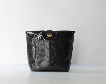 SALE // Vintage Snakeskin Shoulder Bag // 1980s Vintage Black Snakeskin and Patent Leather Purse