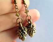Pine Cone and Peridot Crystal Antique Gold Earrings