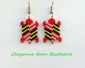 Native American Beaded Earrings - Brick Stitch - Turtles - Maryland Flag - RESERVED
