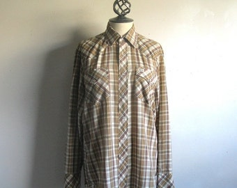50OFF Vintage 1980s Brown Rust Plaid Rockabilly Western Shirt Medium