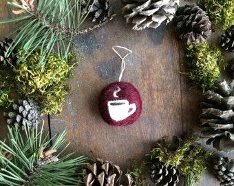 Wool coffee cup ornament, Garnet Red, round ornament, coffee lover gift, barista gift, coffee cup ornament, teacup ornament, coworker gift