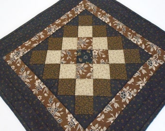 Primitive Quilted Table Topper, Quilted Table Runner in Black Brown Tan, Country Table Topper,  Civil War, Table Quilt, Square Table Topper