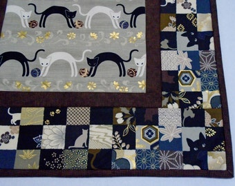 Asian Inspired Quilted Table Topper, Quilted Table Runner, Black and Gold, Cats and Kitties