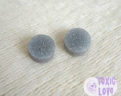Storm Cloud Grey Glitter Resin Plugs (sizes 4mm - 20mm)