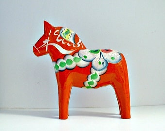 Swedish Dala Horse Orange Scandinavian Traditional Folk Art Vintage 6 1/2 Inch Tall  with Original Label Grannas H Olsson's